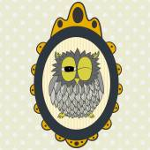 Hand drawn cartoon owl in frame. — Stock Vector