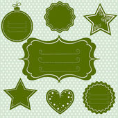Green tags and frames for christmas — Stock Vector