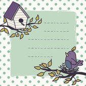 Card with  bird and birdhouse. — Stockvektor