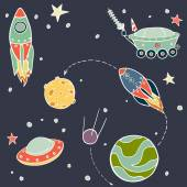 Set of cartoon space elements — Vector de stock