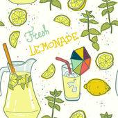 Seamless pattern with lemonade — Stock Vector