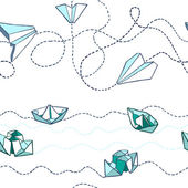 Origami paper boats and planes — Stock Vector