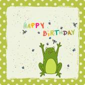 Birthday card with happy cartoon frog — Vettoriale Stock