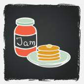 Jar with jam and stack of pancakes — Stock Vector