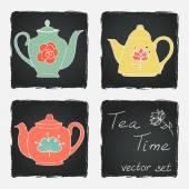 Set of different tea pots — Stock Vector