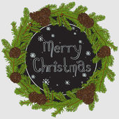 Hand drawn Christmas round frame — Stock Vector