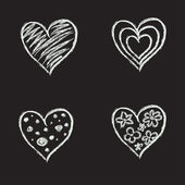 Ręcznie rysowane serca — Wektor stockowy