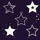 Set of hand drawn stars — Stock Vector