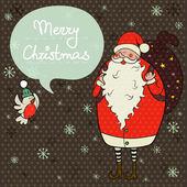 Santa Claus and little winter bird. — Stockvector