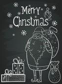 Greeting card with funny cartoon Santa — Stock Vector