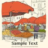 Organic vegetables at market — Stock Vector