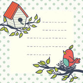 Card with cartoon bird and birdhouse. — Stockvector