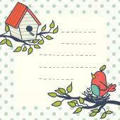 Card with cartoon bird and birdhouse. — Vetor de Stock