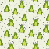 Pattern with funny cartoon frogs — Stock Vector