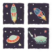 Rockets, spaceships and stars — Stock Vector