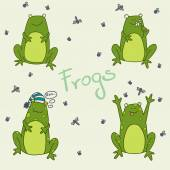 Set of funny cartoon frogs. — Stock Vector