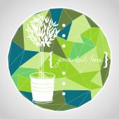Hand drawn potted olive tree — Stock vektor