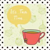 Card  with  tea cup — Stockvector