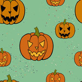 Halloween pattern with Jack-o'-lanterns. — Stockvector