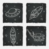 Foguetes, naves espaciais e estrelas — Vetor de Stock