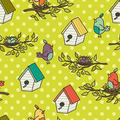 Pattern with birdhouses and birds — Stock Vector