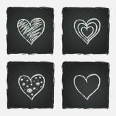 Zestaw ciągnione serc — Wektor stockowy