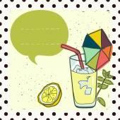 Card with cartoon glass of lemonade — Stock Vector