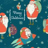 Christmas pattern with funny cartoon Santa — Stock Vector