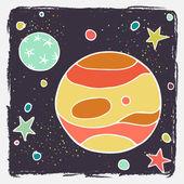 Cartoon planet Jupiter, Callisto and stars. — Stock Vector