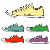 Set of low sneakers — Stock Vector