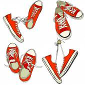 Four pairs of red sneakers — Stock Vector