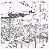 Vegetables at farmers market — Stock Vector