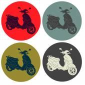 Hand drawn motorbike silhouettes — Stock Vector