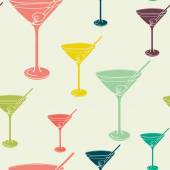 Pattern with martini glasses — Stock Vector