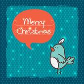 Christmas card with funny cartoon bird — Stock Vector