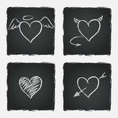 Set of hand drawn hearts — Stock Vector