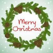 Fir tree branches Christmas frame — Vector de stock