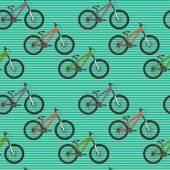 Pattern with colorful mountain bicycles — ストックベクタ