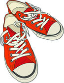 Pair of red sneakers — Stock Vector