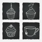 Cupcakes and cup of tea — Wektor stockowy