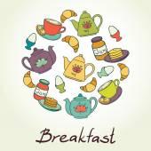Breakfast set  with coffee — Stock Vector