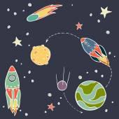Set of cartoon space elements — 图库矢量图片