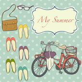 Cute girly summer set — Stock Vector