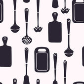 Seamless pattern with kitchen utensils. — Stock Vector
