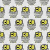 Cartoon owl seamless pattern. — Stockvektor