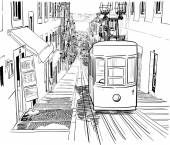 Quiet Lisbon street with a tram — Vetor de Stock