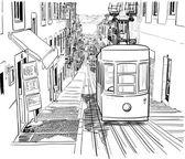 Quiet Lisbon street with a tram — Stockvektor