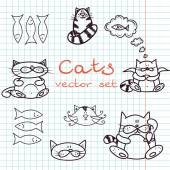 Set of cute cat doodles — Wektor stockowy