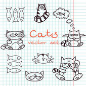 Set of cute cat doodles — Stock Vector