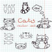 Set of cute cat doodles — Διανυσματικό Αρχείο